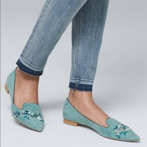 EMBROIDERED SUEDE FLATS